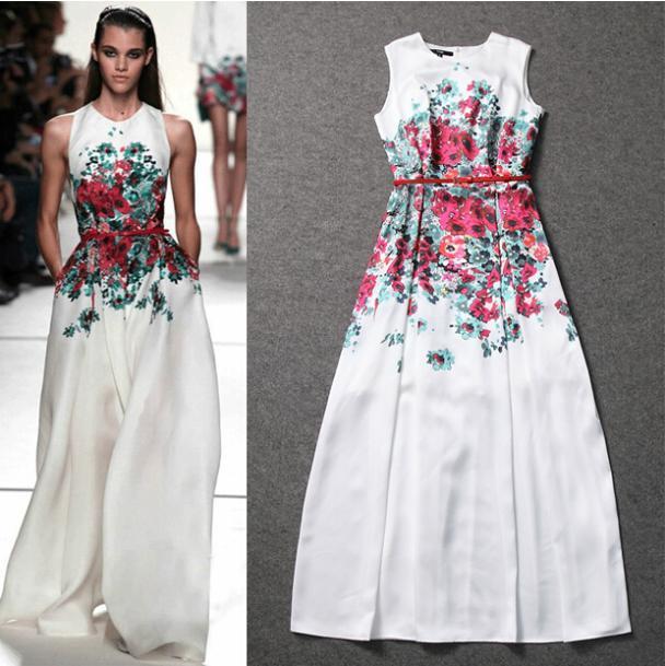 Compre 2015 Vestido Maxi Largo De Primavera Más Reciente Pista De ...