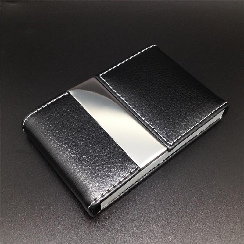 Business Id Credit Card Wallet Holder Leather Stainless Steel Metal ...
