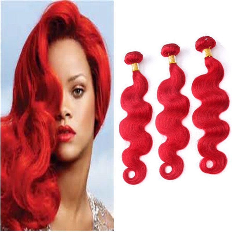 Vücut Dalga Brezilyalı Kırmızı Saç Uzantıları 9A Bakire Brezilyalı Saç Çift Atkılar Kırmızı Renk Bakire Saç Örgü Demetleri 3 Adet