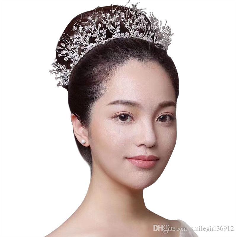 Luxus handgemachte Hochzeit Schmuck Braut Kristall Strass Königin Krone Tiara Stirnband Prom Haarschmuck Silber Großhandel