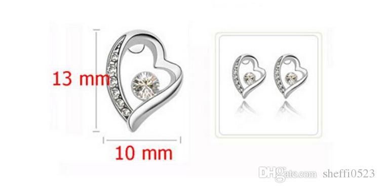 18 K Gümüş Kaplama Kalp Kolye Küpe Bilezikler Setleri Kadınlar Için Romantik moda KRISTAL Takı Setleri Aşk Takı Setleri 8025