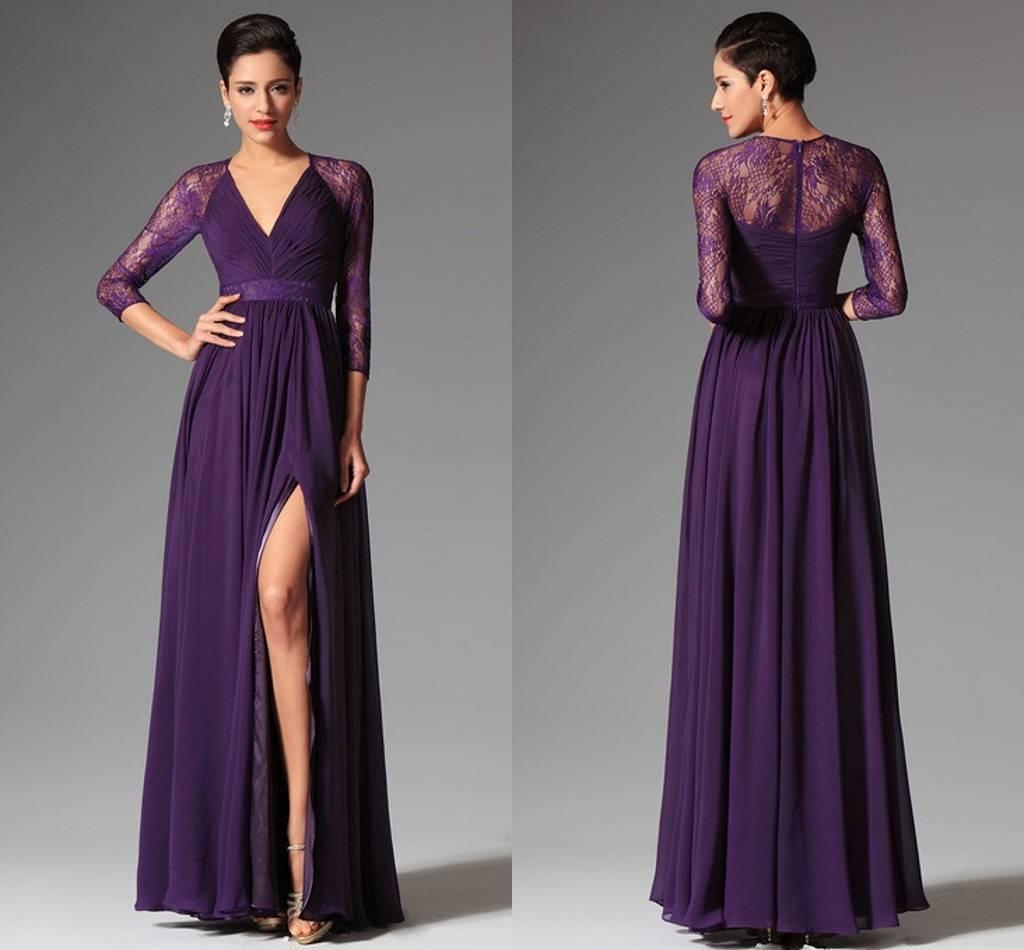 Cheap Purple Prom Dresse 2015 Spring Summer A Line V Neck ...