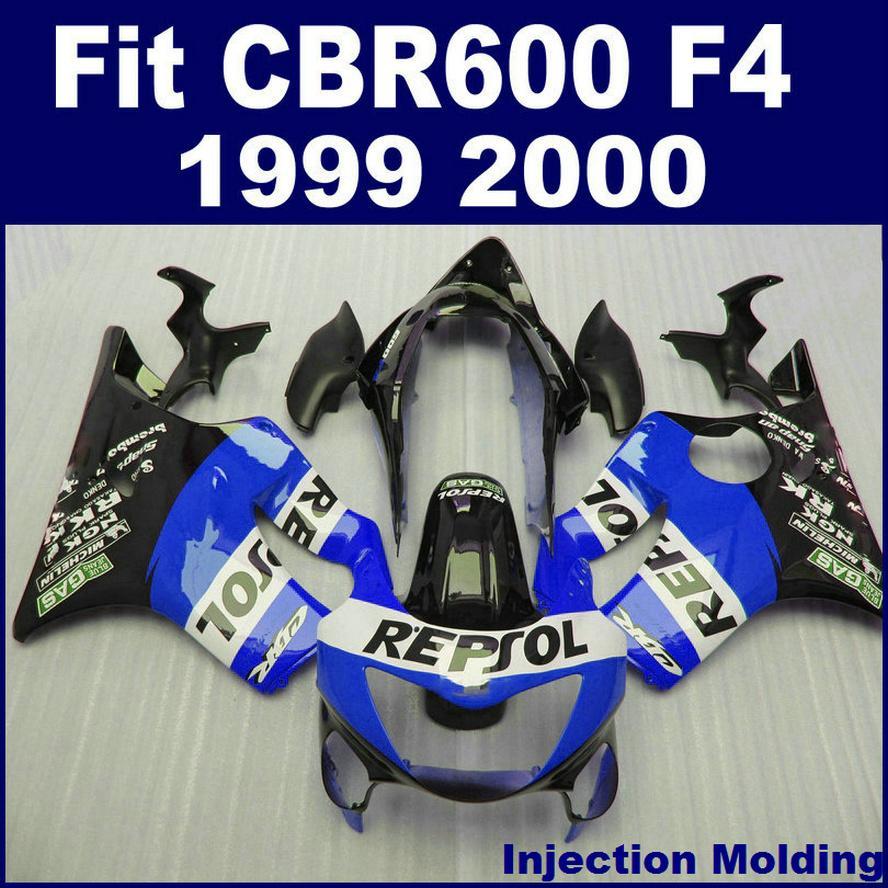 100% ABS racing Injection molding for HONDA fairing parts CBR 600 F4 1999 2000 blue black cbr600 f4 99 00 custom fairing ICAD