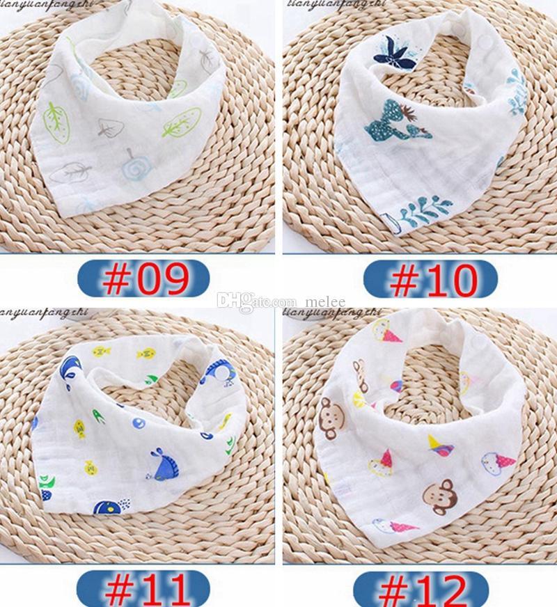 اعتصامات 12 أنماط 4 طبقات المرايل الطفل 100٪ ٪ الغداء المرايل منشفة اللعاب الطفل أطفال الرضع حليب إلكتروني طباعة الشاش غسلها حمام الماء منشفة