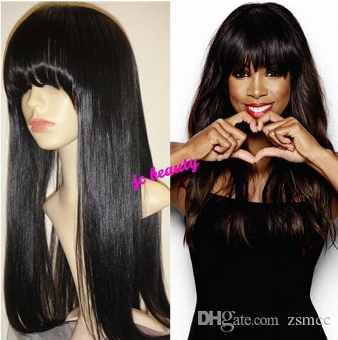 African American Celebrity Wigs With Fringe Cheap Human Hair Wig ...