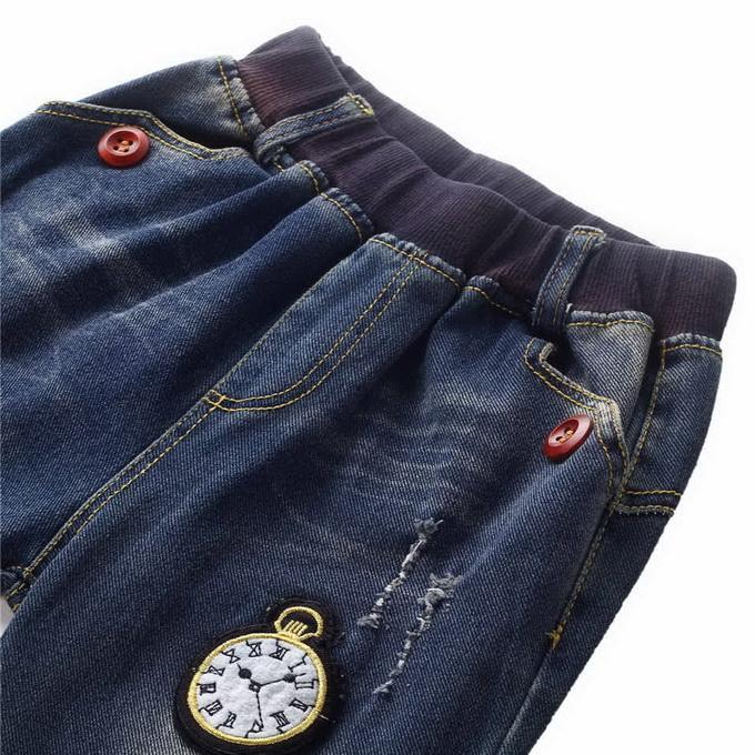 Бренд 2016 розничной верхней продажи мальчиков мультфильм часы Pattern джинсы осень рябить мальчиков брюки Детская одежда PT81016-4