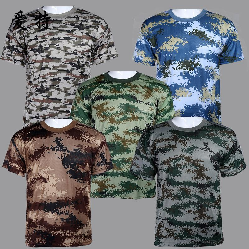 Summer Outdoors Hunting Camouflage T-shirt Men Breathable Army Tactical Combat T Shirt Military Dry Sport Camo Outdoor Camp Tees