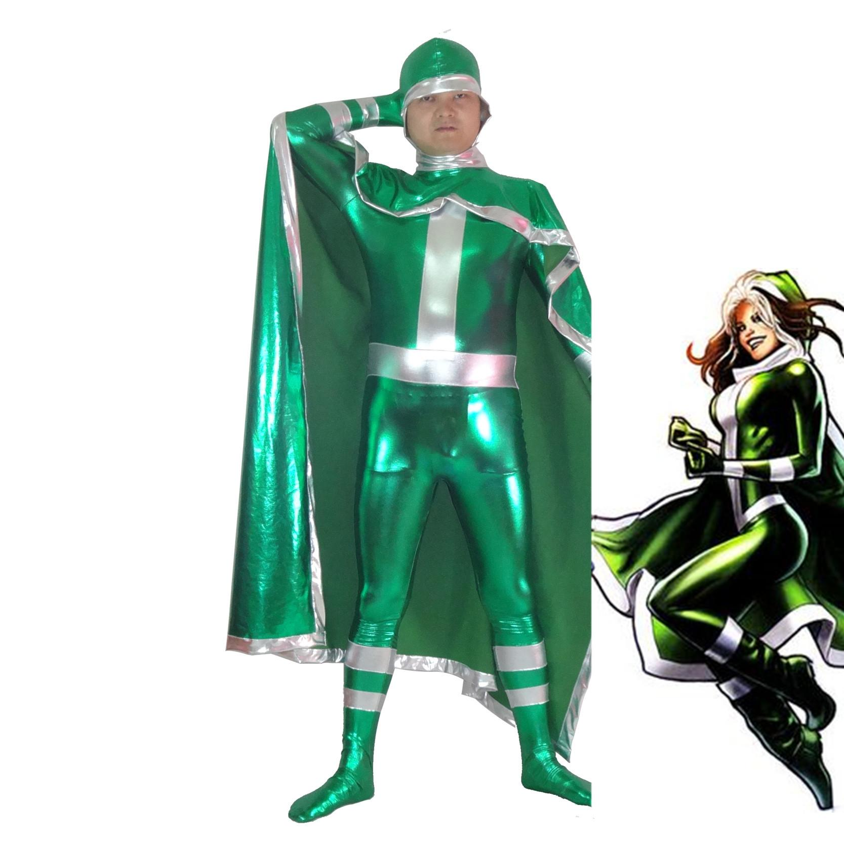 Free Shipping New X Men Rogue Green Superhero Costume Halloween Party Cosplay Sexy Costumes Catsuit Zentai Suit