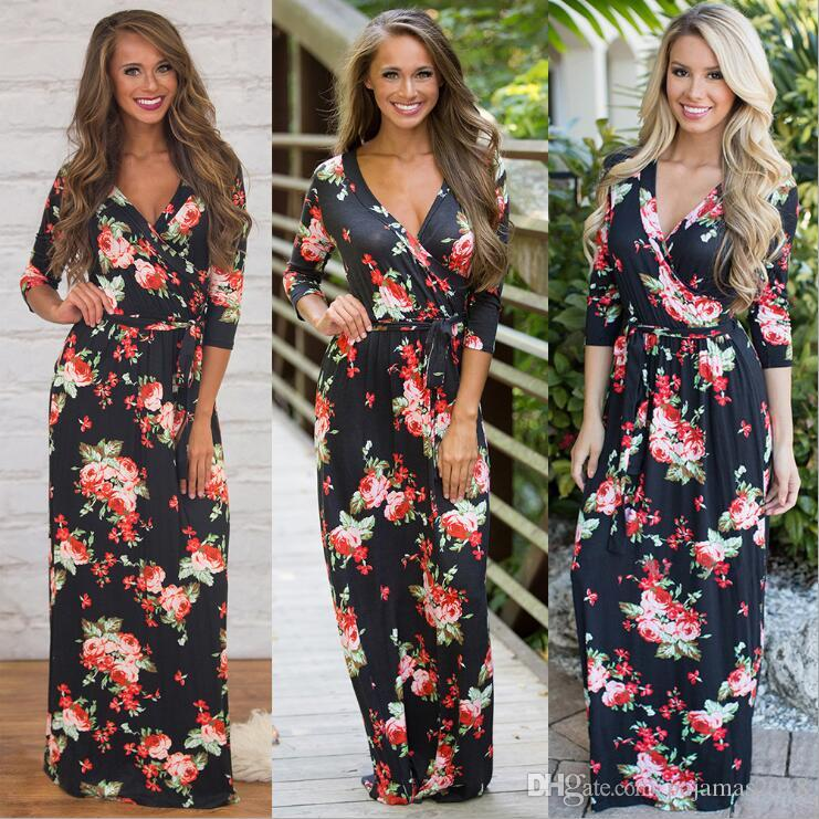 3058d8d6be26 Floral Maxi Dress Lady Clothes Print Long Sleeve V Neck Black Even Party Wedding  Guest Mother The Briadal Casual Dresses Cheap Clothes Dress Clothes Gold ...