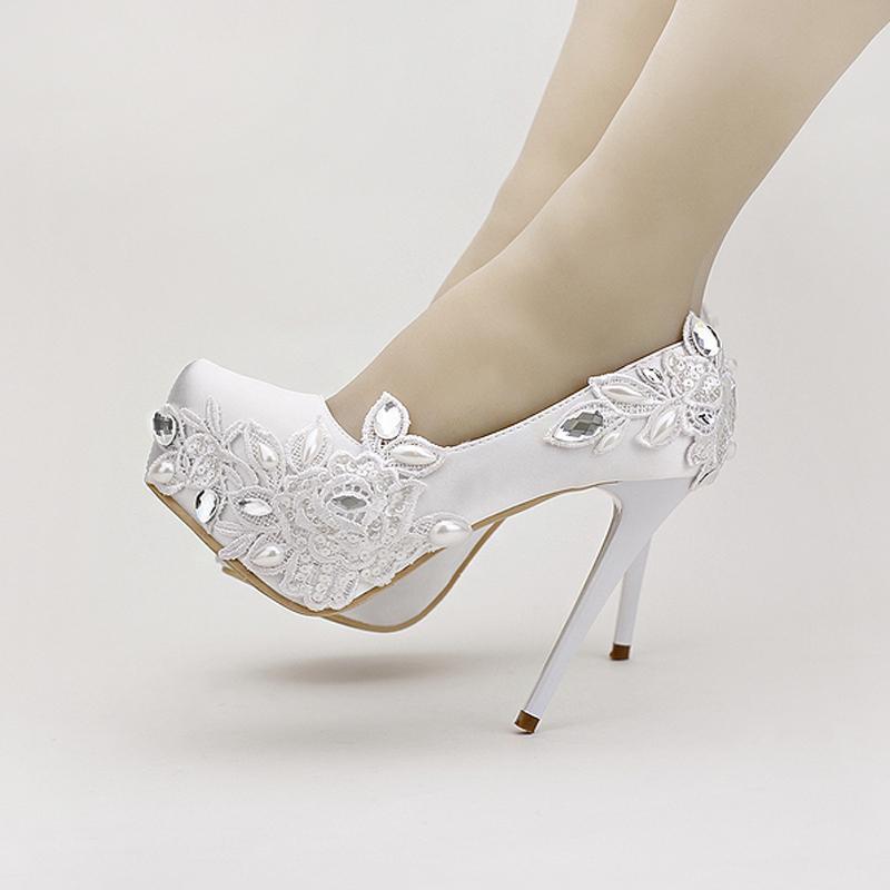 fa6352ba60 White lace Peony Flowers Bridal Shoes Platform Stiletto Heel Shoes Wedding  Bride Stage Performance Women's Shoes White Satin