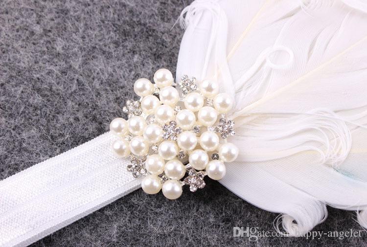 Baby Weiß gekräuselten Federn weiche elastische Stirnband Perle Strass für Mädchen Haarschmuck Neugeborene Taufe Hair Foto Prop YM6112