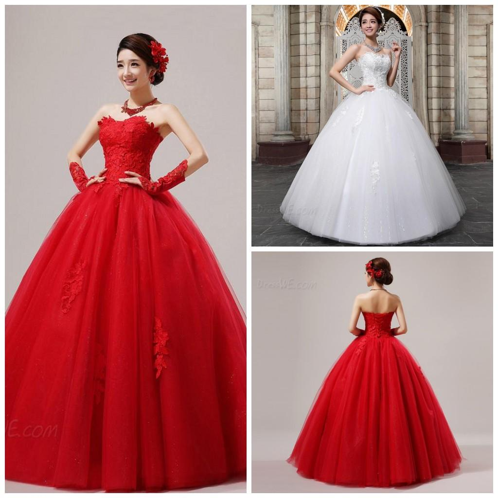 2015 Red Wedding Dresses Lace Ball Gown Strapless Floor Length Lace ...