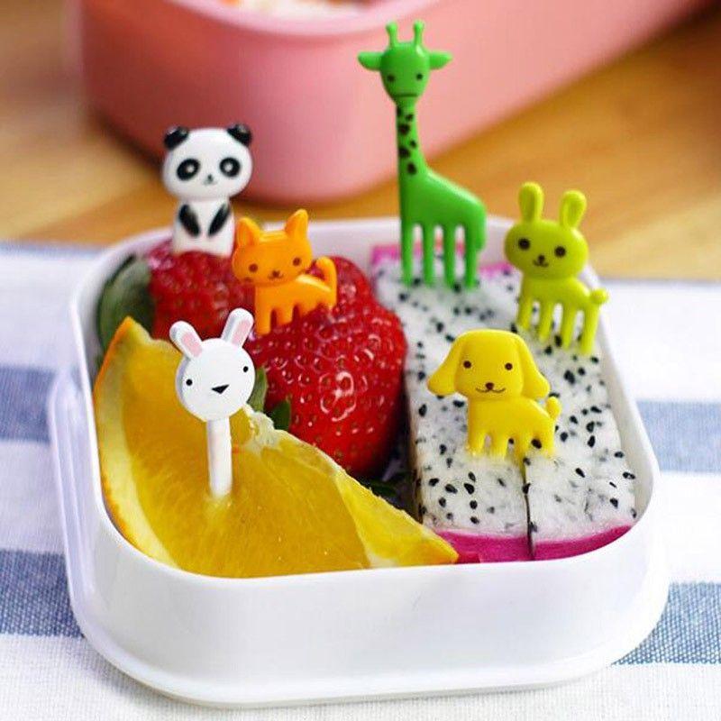 / Set Nouvelle Animal Farm Mini Cartoon Fruit Fork Set Utile Bento Box Accessoires En Plastique Fruit Toothpick Kitchenware