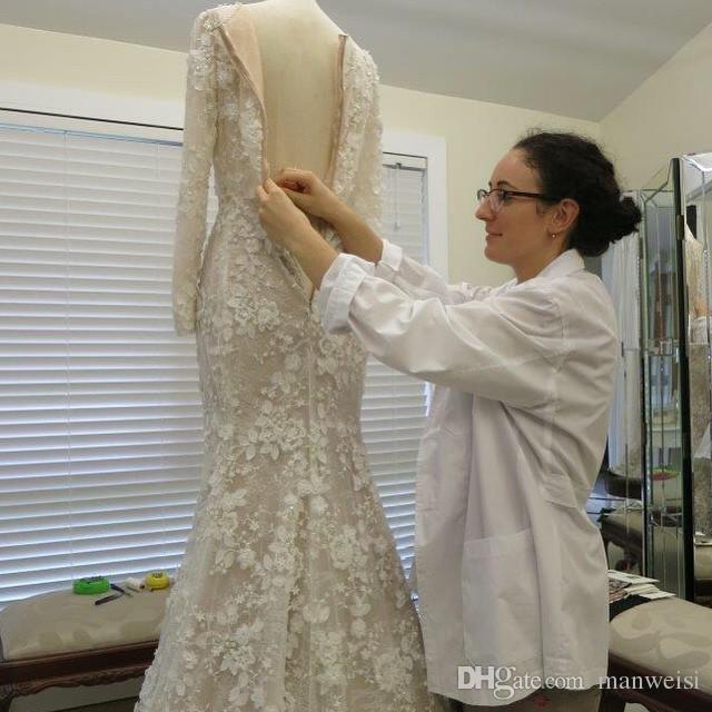 2017 vintage sirena arabo abiti da sposa manica lunga 3d-appliques floreali di cristallo musulmano abiti da sposa sweep treno immagine reale spose dress