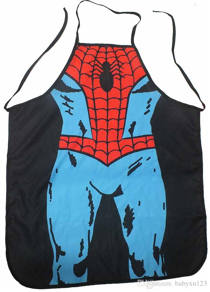 HOT sale Sexy Men Women Apron superhero Apron spiderman avengers Batman Kitchen Cooking Chef Novelty Funny Naked BBQ Party D477