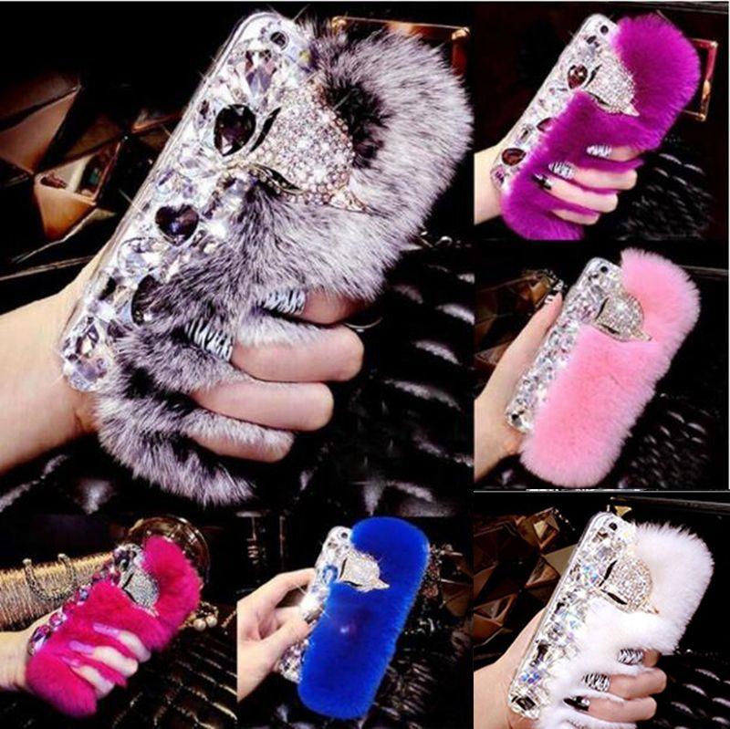 Rabbit Hair Fur Fox Head Bling Diamond Rhinestone TPU Case Soft Touch Warm Cover For iPhone XS Max XR X 8 7 6 Plus Samsung Galaxy Note 9 S9