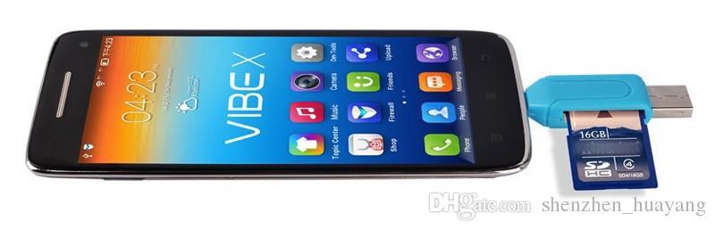 2 in 1 USB-Stecker auf Micro USB Dual Slot OTG-Adapter mit TF / SD-Speicherkartenleser 32GB 4 8 16 GB für Android Smartphone Tablet Google