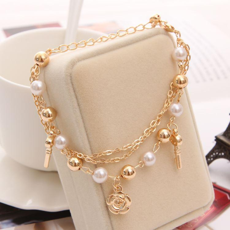 Beautiful Golden Chain Bracelet With Bead Decoration Simple Design ...