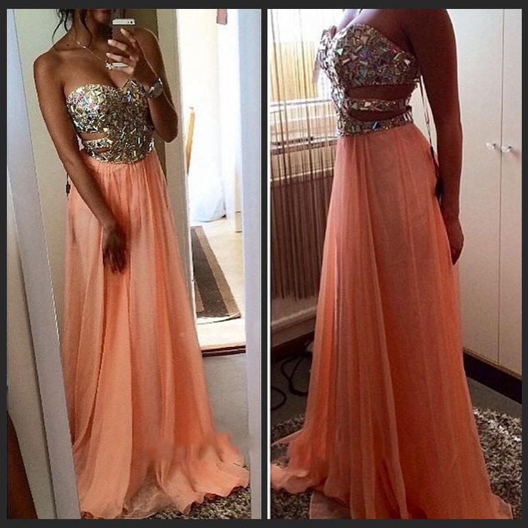 Dress Party Evening Sexy Side Cut Outs Beading A Line Sweetheart Long Chiffon Coral Prom Dresses 2015 Vestidos Festa Longo
