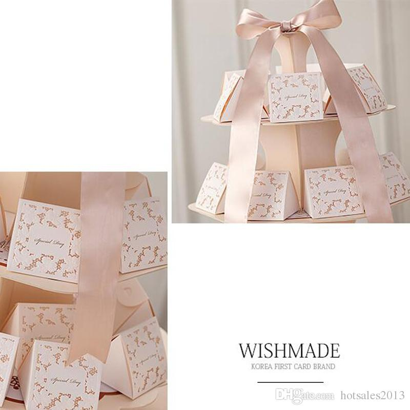 "Chic ""Special Day"" Candy Box Flower Laser Cut Triangle Wedding Party Favor Holders Wedding Decoration Ceremony Paper Packing Box"
