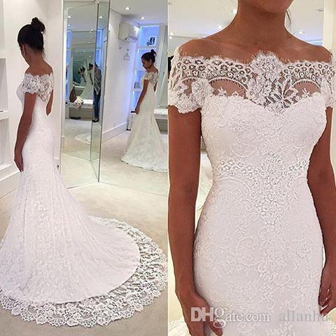 White Full Lace Graden Vestidos de novia Hombros Short Cap Mangas Vestidos De Novia Custom Made Mermaid Court Train Vestidos de novia