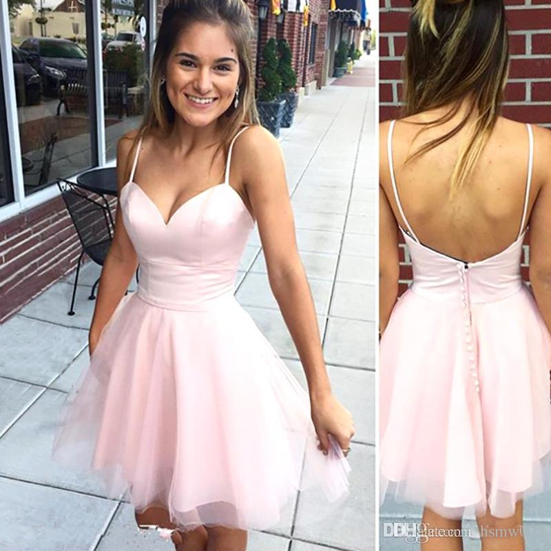 Designed Cheap Short Pink Homecoming Dresses Sexy Spaghetti Straps Sweetheart A Line Mini Cocktail Prom Party Graduation Gowns