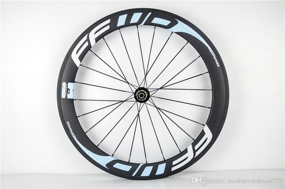 파워 웨이 R13 cersmic 베어링 허브 50mm 전체 탄소 바퀴 빨리 앞으로 흰색 노란색 / 빨간색 / 파란색 자전거 바퀴 밥 3k clincher 700C wheelset