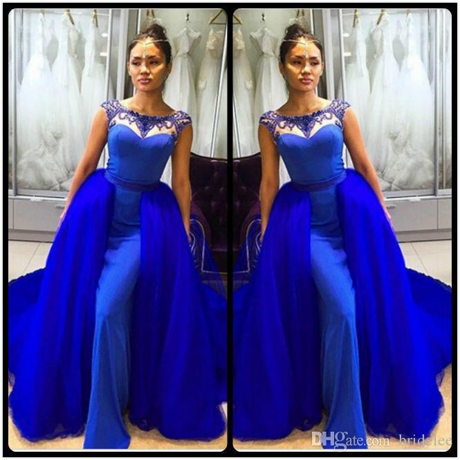 Sexy lunghi abiti da sera blu royal con treno rimovibile in rilievo con pavimento di cristallo lunghezza 2020 sirena abiti da sera Robe de Soiree