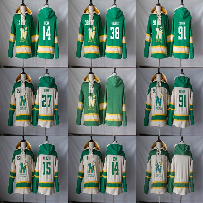 2019 Minnesota North Stars Hoodie 14 Jamie Benn 91 Tyler Seguin 15 Patrik  Nemeth 27 Moen 38 Vernon Fiddler Hockey Jerseys Hoodies Sweatshirts From ... 0759e784b