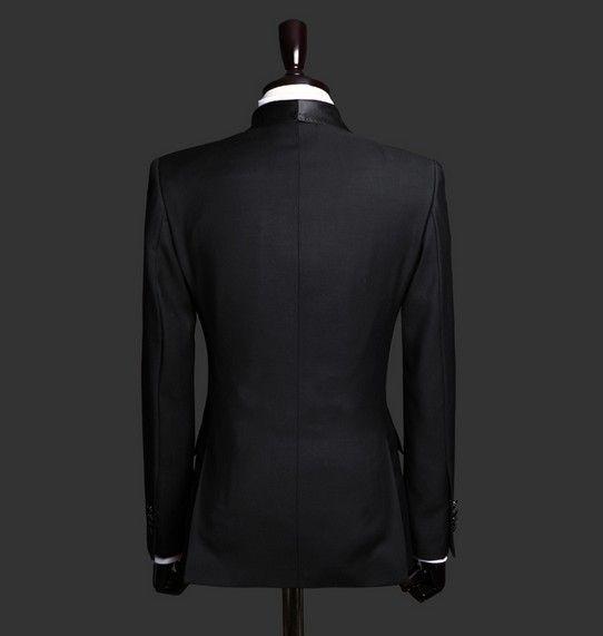 2016 Hot Sale One Button Black Groom Tuxedos Peak Lapel Groomsmen Best Man Mens Weddings Prom Suits Jacket Pants Girdle Tie NO:2559