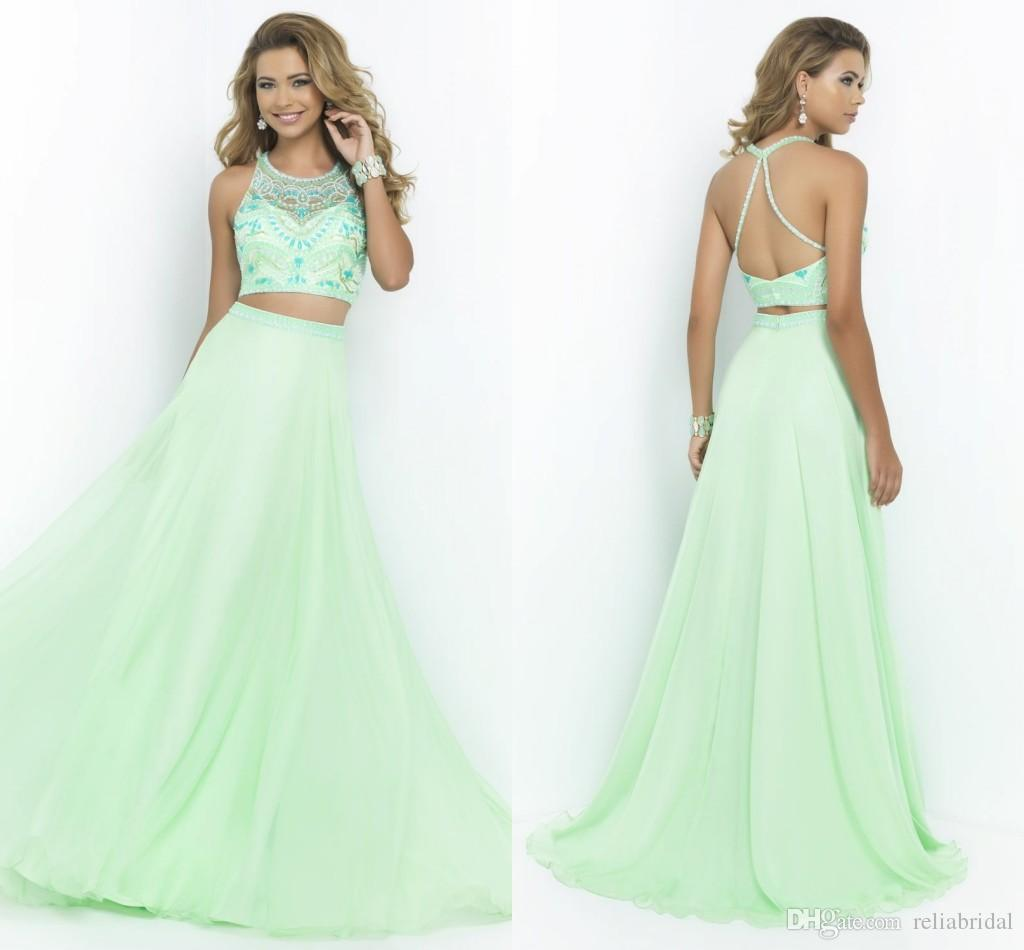 Two Piece Crop Top Prom Dresses With Rhinestones Halter Lime Green ...