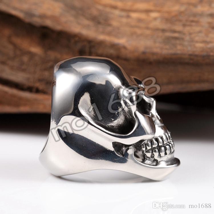 316L Silber Edelstahl schwere schwarze große Schädel Kopf Männer Biker Ring Größe 7-13