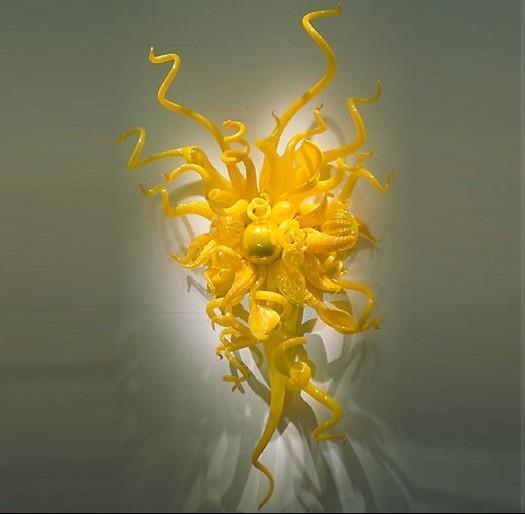 OEM 입 블로운 붕규산 램프 공예 브릴리 아시 노란색 빈티지 유리 벽 램프
