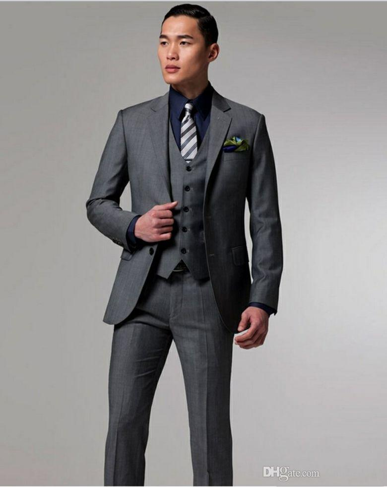 High Quality Two Buttons Dark Grey Groom Tuxedos Notch