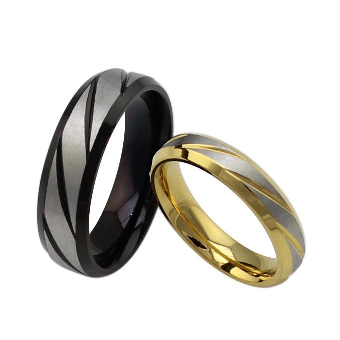 Винтажное кольцо для пары с его и ее обручальным кольцом из черного золота и нержавеющей стали