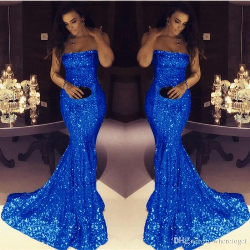 Vintage Women Simple Chiffon Backless Cheap Mermaid: 2018 Bling Bling Royal Blue Sequined Mermaid Evening Prom