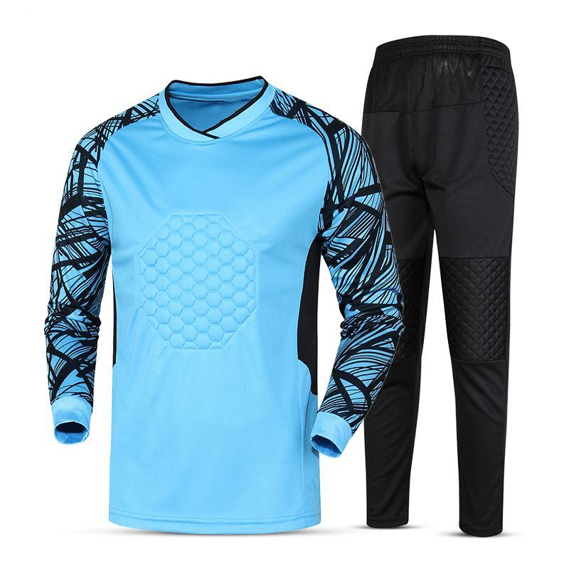 5910b412c02 new kids soccer goalkeeper jersey set men s sponge football long sleeve  goal keeper uniforms goalie sport training suit