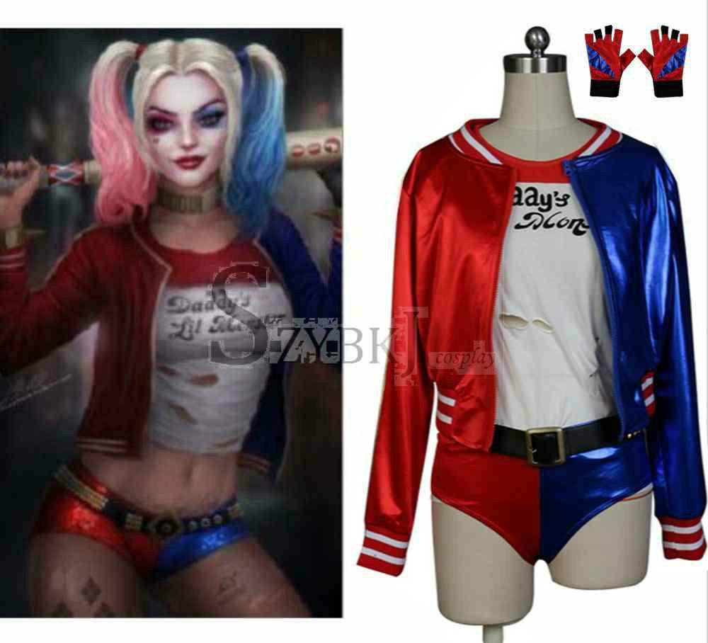 New Batman Dc Comics Suicide Squad Harley Quinn Costume Outfit ...