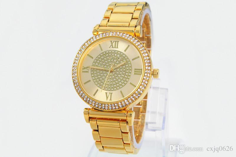 2019 뜨거운 판매 실버 골드 시계 여자 여자를위한 럭셔리 뜨거운 판매 숙녀 손목 시계 선물 전체 스테인레스 스틸 라인 석 쿼츠 와치