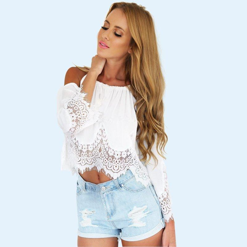 f70eb993598e Plus Size Women Lace Crop Top Sexy Halter White Chiffon Off The Shoulder  Hollow Out Lace Cropped Tops Loose T Shirt T Shirt Makes Shirts T From ...