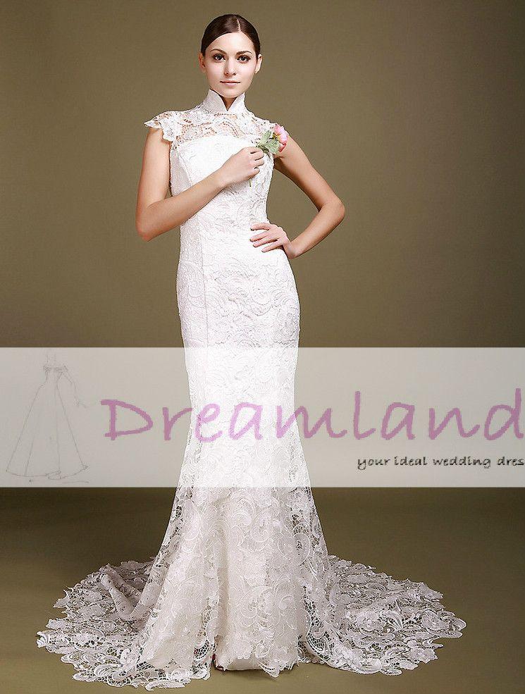 Chinese Style Vintage Lace Wedding Dresses Cheongsam