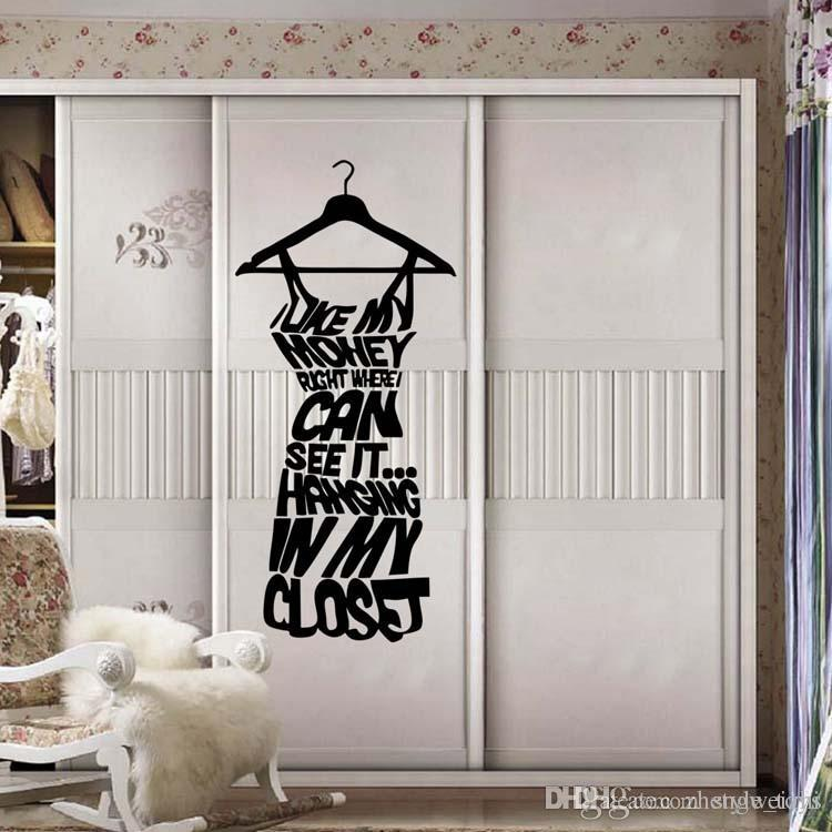 Best sales love my money dressing room wall stickers shop window stickers decorative glass door stickers decorations props removable wall stickers tree wall