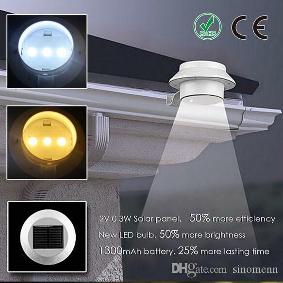 NOVA 3 LED Movido A Energia Solar ao ar livre luzes Jardim Quintal Parede Cerca Cerca Calha Lâmpada Luz da escada iluminação decorações da casa 5