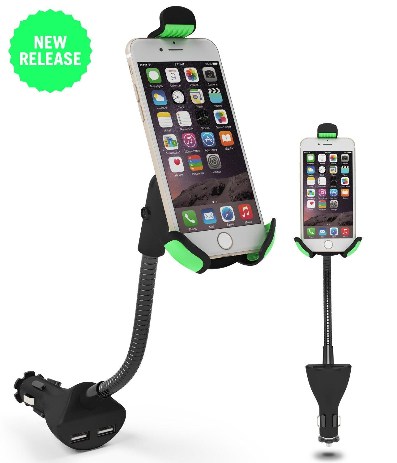 Car Phone Holder with Dual USB Charger Mount Stand for Apple iPhone Samsung Galaxy Huawei Xiaomi etc Phones GPS PDA