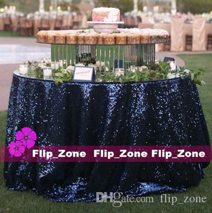 vintage navy blue sequins table cloth for garden wedding party decorations sequined cake tablecloth round table decor runner skirts cheap white damask - Discount Table Linens
