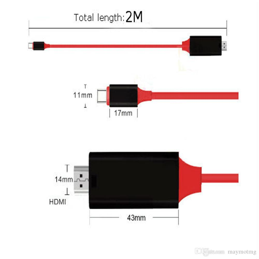 WHOLESALE 2M USB 3.1 USB C to HDMI Cable Type-C to HDMI Converter 4K 30Hz HD External Video Graphics Extend Cable/Adapter for Macbook HDTV