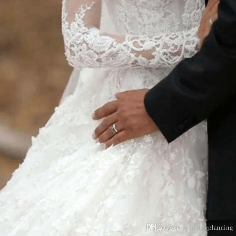 Elegant Charming Full Lace Wedding Dresses Cheap Vintage Long Sleeves Bridal Gown Muslim Ball Gown Vestidos De Novia
