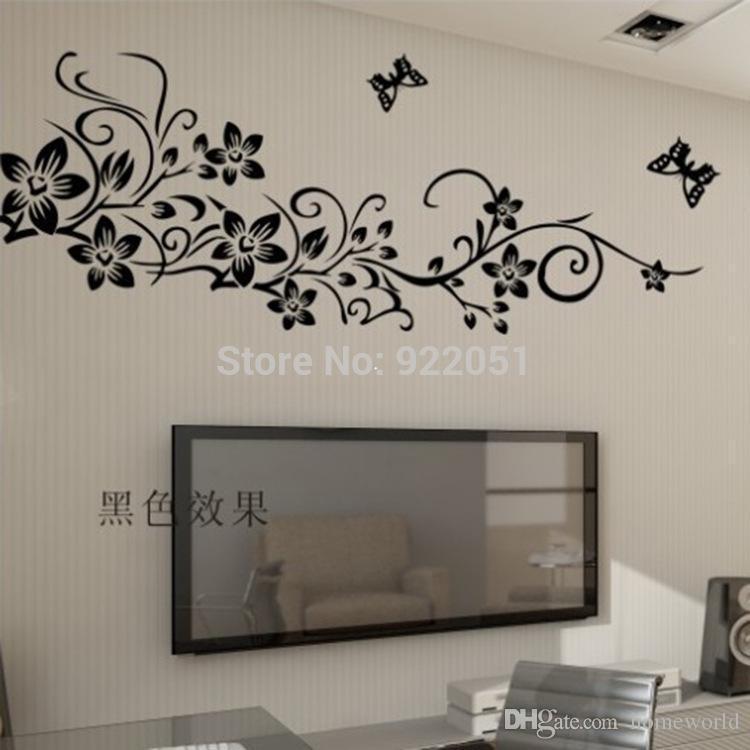 ay954 flower vine wall sticker, pvc wall stickers, tv,sofa diy