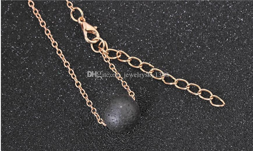 New Fashion 13mm Lava-rock Bead Chain Bracelets Aromatherapy Essential Oil Diffuser Bracelets Natural Black Lava Charm Bracelets