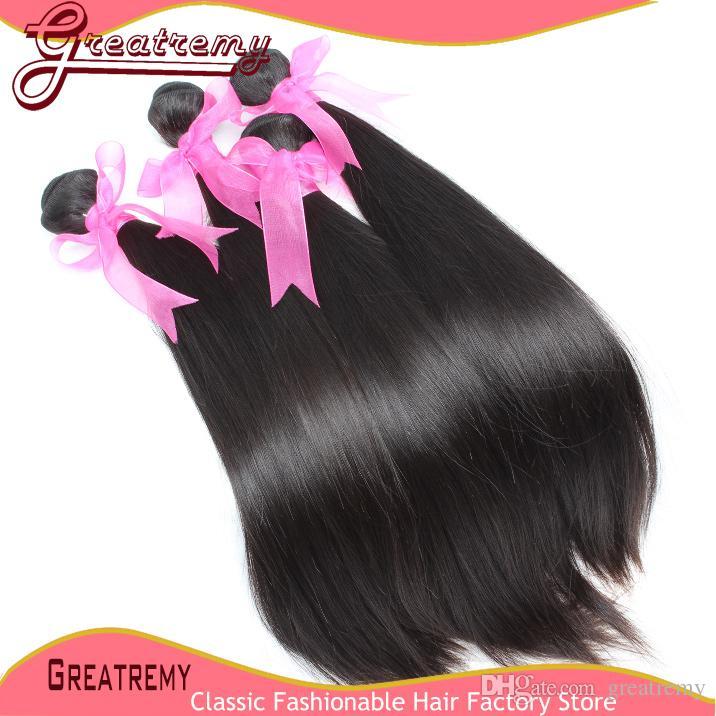 5 шт. / Лот 100% необработанные монгольские волосы плетения волос мягкие и гладкие прямые Remi Наращивание человеческих волос Превосходные падения
